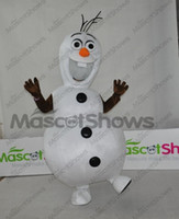 Mascot Costumes People Christmas Wholesale - 2014 Custom made Cartoon Character Adult Frozen Olaf Snowman Mascot Fancy Dress Costume, Free shipping