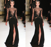 Reference Images Crew Chiffon 2014 Zuhair Murad Fabulous See Through Sexy Crew Long Sleeve Pleat Applique Floor-Length Side Slit Chiffon Evening Gown Prom Dresses