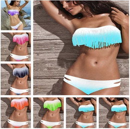 Wholesale Newest Summer Fashion Sexy Women Bikini Swimwear Padded Boho Fringe Tassels Real Class