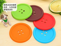 Wholesale New High Quality Round Silicone Coasters Cute Button Multicolor Cup Mat