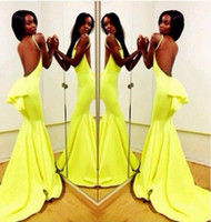 Model Pictures Sweetheart Chiffon Sexy Vestidos De Fiesta Sweetheart Vestido Amarelo Yellow Chiffon Mermaid Long Prom Dresses Winter Women Party Dresses 2014 ZA131