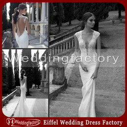 Berta Bridal Illusion Backless Wedding Dresses Mermaid Plunging V Neck Lace Brides Gowns with Sheer Back Detachable Tulle Train