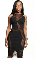 Casual Dresses Round Knee Length New Womens Celebrity Midi Bodycon Dress Ladies Patchwork Hollow Out Sexy Party Bandage Dress Sleeveless Black Bodysuit Dress