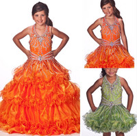 Model Pictures Girl Beads 2014 Teen Pageant Dresses Halter Ball Gown Junior Pageant Dresses Detachable Bottom Crystal Girl Pageant Gown dhyz 03