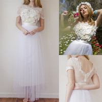 A-Line Reference Images Scoop 2014 Summer Boho Romantic Lace Beach Garden Wedding Dresses Bridal Gowns Scoop Handmade Flowers Sheer Back Tulle Capped Sleeves Boho 25
