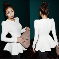 Wholesale Korean Fashion Womens Peplum Frill Puff Sleeve Slim Casual T Shirt Blouse Tops Autumn