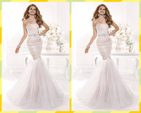 Reference Images Strapless Tulle Tarik Ediz Formal Evening Dresses Mermaid Tulle Strapless Gowns Beads Sash Backless Prom Dress Red Carpet Gown Free Shipping