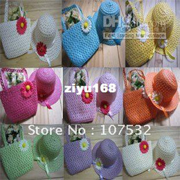 Wholesale New Style Children Straw Hat And Bag Suit Colors in stock set