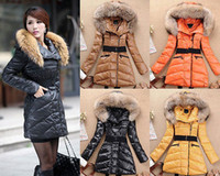 Down Coats Women Cotton New Womens Ladies Faux Fur Hooded Jacket Warm Winter Zip Parka Coat Outerwear
