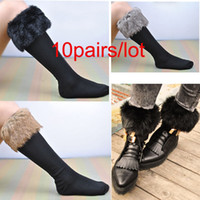Wholesale 10 pairs Japan Style women girl Winter Snow knee high Socks With Synthetic Fur Boot Socks different colors