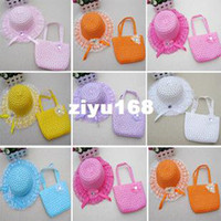 hats - 14pcs New Style Children Straw Hat And Bag Suit Colors Korean Children Sun hat lace flower set