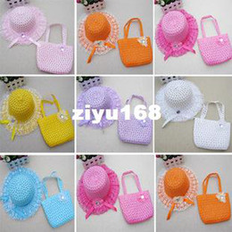 Wholesale 14pcs New Style Children Straw Hat And Bag Suit Colors Korean Children Sun hat lace flower set