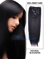 Brazilian Hair 24 inch clip in human hair extensions - Cheap Human Hair Clip In Hair Extensions For African American Black Women g sets A Natural Black Color