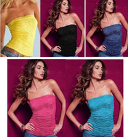 bandeau shirts - Women Strapless Lace Sheer Bandeau Tube Top long Bandeau Seamless Stretch Ribbed Tank Tops Vest Racerback MINI clothing Camis shirt
