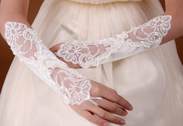 Wholesale In stock Charming White Ivory Pearl Satin Lace Fingerless embroidery Bridal Gloves bridal accessories cheap hot