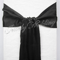 "Wedding Satin Fabric about 15cmx275cm Free Shipping 50 pieces Brand New Black 6""x108"" Satin Chair Cover Sash Wedding Party Supply Decoration"