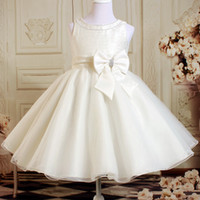 Girl ankle length dresses - Real Sample A Line Crew Ankle Length Ivory Organza Flower Girls Dresses For Wedding Beaded Fashion Lovely Pageant Girls Dresses