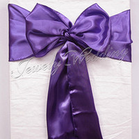 "Wedding Satin Fabric about 15cmx275cm Free Shipping 50 pieces Brand New Purple 6""x108"" Satin Chair Cover Sash Wedding Party Supply Decoration"