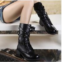 Wholesale Big sale HK netural Motorcycle Boots Vintage Combat Army Punk Goth Ankle Shoes man Women Biker Leather Short Boots