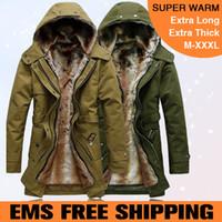 Coats Men Cotton EMS Free Shipping Faux fur lining men fur coat with hood winter warm long thermal parkas plus size M-XXXL MWM218