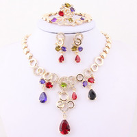 Wholesale 18K Gold Plated Austrian Bridal Accessories Europe zircon Crystal Jewelry Sets Necklace Earrings
