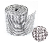 Adults Unisex  24 Row x10 Yard Crystal Rhinestone Banding Trimming Ribbon Cake Decor Wedding Sliver & black