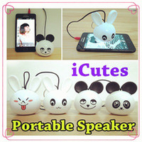 Wholesale iCutes Rabbit Portable Speaker Loudspeaker Mini Music Player with Led Lighting for iPhone iPod Smartphones and MP3 Players Galaxy Note S5