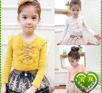 Girl base brand clothing - Brand New Fashion Spring Autumn Korean long sleeve pure color Girls T Shirt bowknot lace edge Children Base Shirt Kids Clothing
