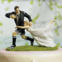 Wedding Cake Supplies cake topper - quot A Love Match quot Funny Rugby Couple Figurine wedding cake toppers Cheap