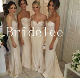 2014 Champagne Sweetheart Strapless Chiffon Bridesmaid Dresses A-Line Sleeveless Floor Length With Sequin Lace Bridesmaid Dress Cheap