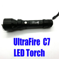 Wholesale New Arrival LED Aluminum Torch Ultrafire C7 LED Torch Flashlight shocker Light Lamp lumens zoomable Best Price churchill