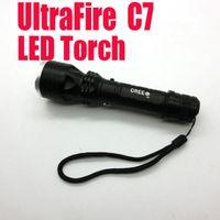 Wholesale Best Quality New LED Aluminum Torch Ultrafire C7 LED Torch Flashlight shocker Light Lamp lumens zoomable churchill