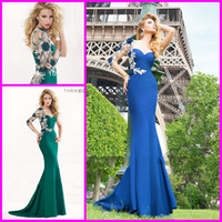 Reference Images One-Shoulder Chiffon 2014 Tarik ediz New Exotic Green One Shoulder Long Sleeve See Through Beaded Lace Top Chiffon Floor-length Sheath Sexy Evening Dresses