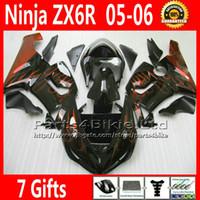 Comression Mold For Kawasaki Ninja ZX-6R Customize fairing kit for ZX-6R 2005 2006 Kawasaki Ninja 636 ZX 6R golden black fairings ZX636 05 06 ZX6R motobike parts 7 Free Gifts TQ28
