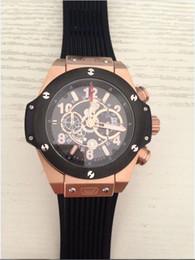 Regarder bracelet en caoutchouc noir en Ligne-2014 AAA Montre-bracelet de qualité supérieure Marque de luxe big bang bateau quartz mouvement bracelet en caoutchouc noir avec glasp d'origine