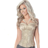 Women Corset & Bustier  Hold Tight Noble Brocade Corset with Satin Overbust fancy dress Bridal Corset Tops Champagne CRS003
