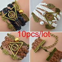 Wholesale 10pcs fashion Harry Potter Braided rope platted Synthetic Leather bracelet Snitch Angel Wings Owl