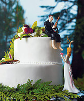 Wholesale quot Hooked on Love quot Resin Couple figures Wedding Cake Toppers Fishing Cake toppers