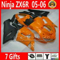 Comression Mold For Kawasaki Ninja ZX-6R Fairing kit for ZX-6R 2005 2006 Kawasaki Ninja 636 ZX 6R orange matte black fairings sets ZX636 05 06 ZX6R motorcycle parts 7 Gifts TQ60