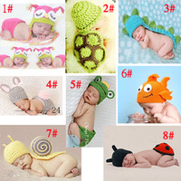 Unisex Summer Crochet Hats Photography Props Handmade Children Hat Newborn Baby Crochet Animal Beanies Baby Photography Props infant Costume Outfits 5sets lot