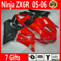 Comression Mold For Kawasaki Ninja ZX-6R ABS Fairing kit for ZX-6R 2005 2006 Kawasaki Ninja 636 ZX 6R matte black red fairings sets ZX636 05 06 ZX6R motorcycle parts 7 Gifts TQ68
