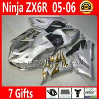 Comression Mold For Kawasaki Ninja ZX-6R Fairing kit for ZX-6R 2005 2006 Kawasaki Ninja 636 ZX 6R golden flame in silver fairings sets ZX636 05 06 ZX6R motorcycle parts 7 Gifts TQ74
