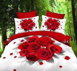 Wholesale d oil painting bedding set Red Rose bedding sets without filler bedset cotton duvet cover set bed sheet A6