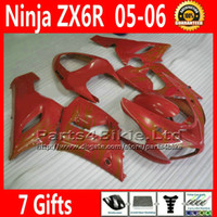 Comression Mold For Kawasaki Ninja ZX-6R ABS body kits for ZX-6R 2005 2006 Kawasaki Ninja 636 ZX 6R fairings kit ZX636 05 06 ZX6R all red high quality motobike parts 7 Gifts TQ90