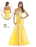 Reference Images Strapless Taffeta 2014 Yellow Wow Prom Dresses Mermaid Strapless Bead Lace Up Taffeta Backless Pleat Custom Plus Size Evening Gowns Formal Pageant Dress Cheap