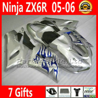 Comression Mold For Kawasaki Ninja ZX-6R ABS body kits for ZX-6R 2005 2006 Kawasaki Ninja 636 ZX 6R fairings kit ZX636 05 06 ZX6R blue flame silver motobike parts 7 Gifts TQ92