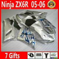 Comression Mold For Kawasaki Ninja ZX-6R ABS bodykits for ZX-6R 2005 2006 Kawasaki Ninja 636 ZX 6R fairings kit ZX636 05 06 ZX6R blue flame silver custom motobike parts 7 Gifts TQ96