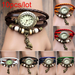 Wholesale 10pcs Women Leather Wrist Watch charm Bracelet Retro Vintage Owl Pendant Weave Wrap Quartz Colors