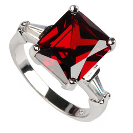 Wholesale Classic Red fashion Silver Plated Cubic Zirconia ring R130 sz First class products Recommend Promotion Favourite Engagement Wedding