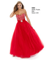 Reference Images Sweetheart Crepe 2014 Red Sexy Ball Gown Prom Dresses Sweetheart Beaded Sweep Train Lace Up Tulle Wow Evening Gowns Formal Dresses Custom Quinceanera Dresses